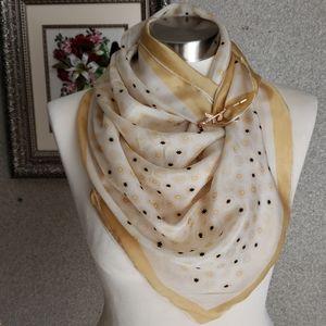 Vintage! beautiful 100% silk SCARF +  CLIP